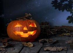 Dynia, Deski, Liście, Noc, Halloween