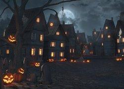Halloween, Domy, Światła, Ulica, Noc, Księżyc, Dynie, Drzewo, Grafika