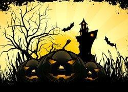 Halloween, Trzy, Dynie, Zamek, Nietoperze