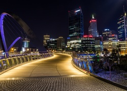 Australia, Most, Elizabeth Quay Bridge, Perth, Noc