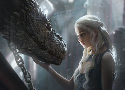Serial, Gra o Tron, Game of Thrones, Emilia Clarke - Daenerys Targaryen, Smok