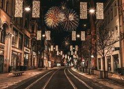 Uliczka, Domy, Dekoracja, Oświetlenie, Fajerwerki, Boże Narodzenie, Erfurt, Turyngia, Niemcy