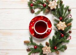 Filiżanka, Herbaty, Gałązki, Świąteczne, Ciasteczka, Deski