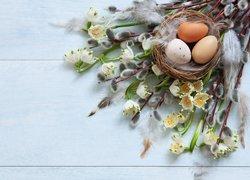 Gałązki, Bazie, Kwiaty, Śnieżyce, Gniazdo, Jajka, Wielkanoc
