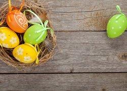 Wielkanoc, Gniazdo, Pisanki, Zawieszki, Deski, Piórka