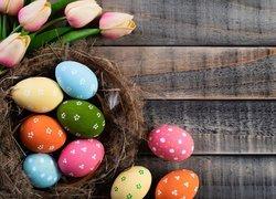 Kolorowe, Pisanki, Tulipany, Gniazdo, Deski, Wielkanoc