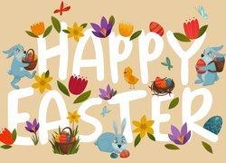 Wielkanoc, Zajączki, Napis, Happy Easter, 2D