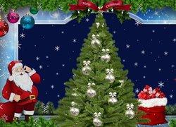 Boże Narodzenie, Choinka, Mikołaj, Prezenty, Dekoracje, Grafika