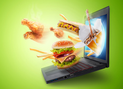 Laptop, Hamburger, Grafika 4D