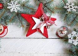 Kompozycja, Boże Narodzenie, Gałązki, Gwiazda, Śnieżynki, Figurki