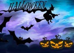 Halloween, Nietoperze, Dynie, Grafika