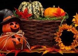 Kompozycja, Halloween, Dynie, Kosz, Słoneczniki