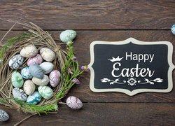 Wielkanoc, Deski, Wianek, Pisanki, Tabliczka, Napis