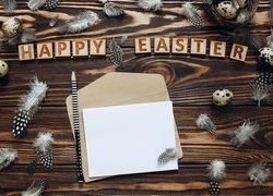 Piórka, Jajeczka, Napis, Happy Easter, Biała, Kartka, Koperta, Ołówek, Deski, Wielkanoc