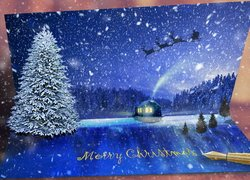 Boże Narodzenie, Kartka, Świąteczna, Życzenia, Pióro