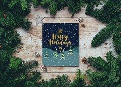 Wesołych Świąt, Boże Narodzenie, Kartka, Gałązki