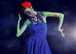 Halloween, Zombie, Kobieta, Sukienka w groszki