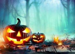 Halloween, Dynie, Świece, Liście, Drzewa, Mgła, Rozmyte tło