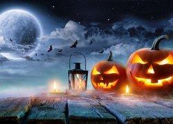 Halloween, Dynie, Lampion, Świece, Gwieździste, Niebo, Księżyc, Nietoperze