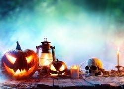 Dynie, Lampa, Świece, Czaszka, Halloween