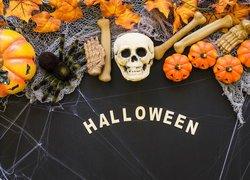 Dynie, Kości, Czaszka, Pajęczyna, Pająk, Napis, Halloween
