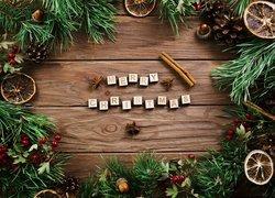 Boże Narodzenie, Gałązki, Szyszki, Żołędzie, Napis, Merry Christmas,  Deski