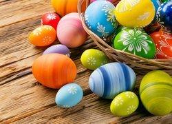 Wielkanoc, Koszyk, Pisanki, Deski