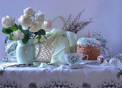 Wielkanoc, Kosz, Bazie, Pisanki, Róże, Dzbanek, Babka, Filiżanka