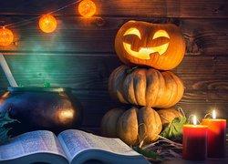 Halloween, Dynie, Lampion, Książka, Świece