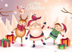 Grafika, Mikołaj, Renifer, Elf, Prezenty, Merry Christmas