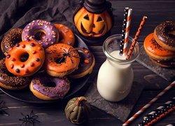 Pączki, Donuty, Mleko, Słomki, Halloween