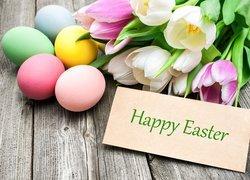Wielkanoc, Kolorowe, Pisanki, Tulipany, Kartka, Napis, Happy Easter