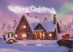 Zima, Śnieg, Boże Narodzenie, Życzenia, Napis, Domy, Dekoracje, Most, Świerki, Grafika