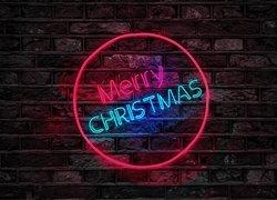 Boże Narodzenie, Napis, Merry Christmas, Neon, Ściana