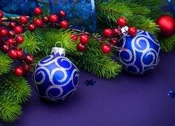 Boże Narodzenie, Gałązki, Świerkowe, Niebieskie, Bombki, Granatowe tło