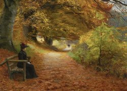 Obraz A wooded path in autumn - Hans Andersen Brendekilde