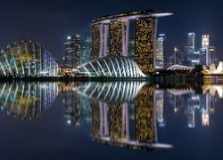 Noc, Gardens by the Bay, Oświetlony, Hotel Marina Bay Sands, Singapur