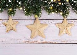 Boże Narodzenie, Gałązki, Gwiazdki, Dekoracja, Deski