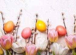Wielkanoc, Pisanki, Tulipany, Bazie