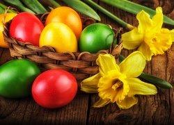 Pisanki, Koszyk, Kwiaty, Żonkile, Wielkanoc