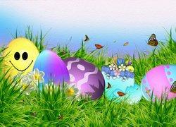 Wielkanoc, Pisanki, Grafika, Trawa, Motylki
