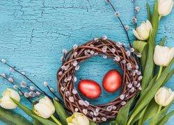 Tulipany, Bazie, Wiklinowy, Wieniec, Wielkanoc, Pisanki