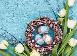 Wielkanoc, Pisanki, Tulipany, Bazie, Niebieska, Deska