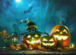 Dynie, Lampion, Liście, Nietoperze, Noc, Halloween