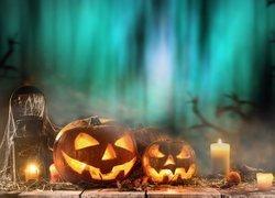 Halloween, Dynie, Świece, Lampion