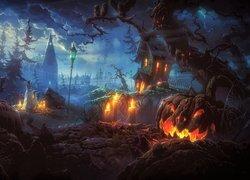 Halloween, Dynie, Świece, Upiory