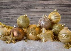 Złote, Bombki, Gwiazdki, Boże Narodzenie
