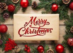 Świąteczna, Kompozycja, Boże Narodzenie, Gałązki, Bombki, Szyszki, Prezent, Napis, Merry Christmas