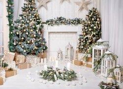 Pokój, Udekorowane, Choinki, Prezenty, Stroik, Lampiony, Boże Narodzenie