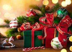 Boże Narodzenie, Prezenty, Bombki, Gałązki, Zawieszka, Konik